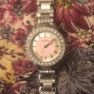 Silver with diamond accent stainless steel watch